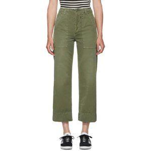 AMO khaki high-waist + wide-leg, ankle-crop pants